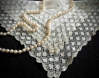 Vintage Lace Bridal Handkerchief - Handkerchiefs - Antique Hanky - Lace Linens - Accessories - Weddings - Shower Gift
