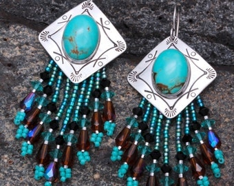 Sterling Silver and Turquoise Beaded Earrings