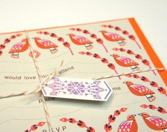 Orange Bird Invitations and Envelopes Set