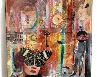 Mixed Media Collage Art- Home Decor - Surreal Collage Art - Vintage Collage - 18 x 18 Canvas Art - Wall Decor - Unique Home Decor - Wall Art