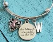 cancer survivor bracelet, breast cancer jewelry, get well gift, cancer awareness, motivational bracelet, encouragement gift, remission gift