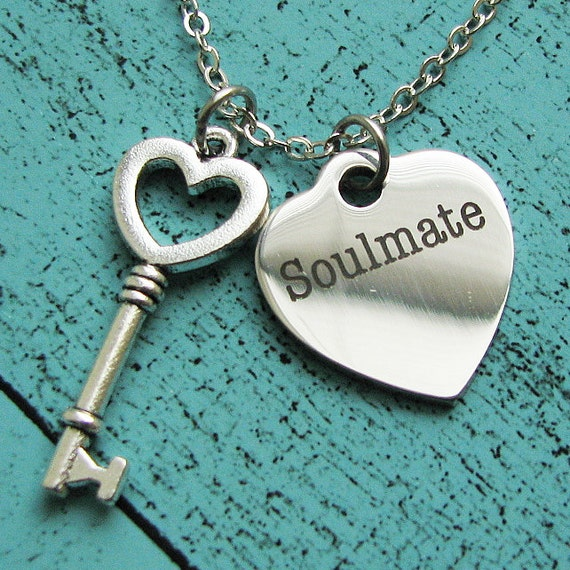 soulmate necklace, wife gift, anniversary gift, heart key necklace, romantic gift for her, gift for wife, soulmate jewelry, soulmate gift