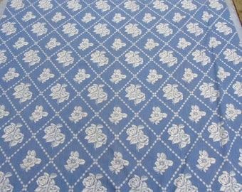 Vintage 40s Bedspread Blue White Roses 94 x 82 Woven Cotton
