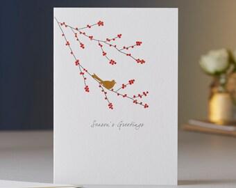 Winter Berries & Bird Season's Greetings Card
