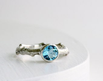 Blue Topaz Silver Twig Ring, Blue Topaz Branch Ring, Silver Tree Ring, Nature Ring