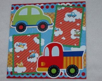 First Birthday Boy Planes Cars Trucks Train Bus Clouds Balloons 12x12 Premade Scrapbook Page by KARI