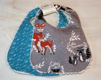 Baby Bibs Set of 2 Cotton Chenille Bibs Baby Shower Gift Grey Woodland Animals Teal Arrows