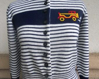 Vintage 70s Sweater Striped Crop MODEL A Cardigan XS-S