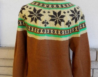 Vintage 70s Fair Isle Sweater . Nordic Sweater . Ski Sweater . Turtleneck Pullover L-XL