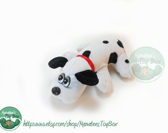 Small 80s Pound Puppy by Tonka: White with Black Spots