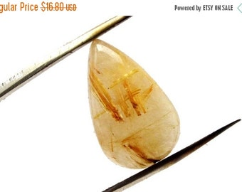 ON SALE Golden Rutilated Quartz Drop Cabochon Stone (20mm x 11mm x 6mm) 11cts