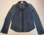 Navy suede shirt water spot so for craft use