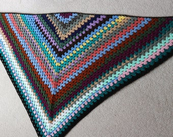 Triangular crochet shawl colourful acrylic festival