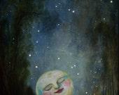 Fantasy Art Print -SURREAL Moon Print - Victorian Moon Art -Giclée Wall Art Print Moon - Moon Fantasy Art- Moon Ghostales Annabelle