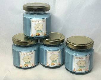 Under Construction Baby Boy Shower Favor, Soy Candle Shower Favor, Baby Powder Scent