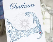 Cape Cod Table Numbers, Cape Cod Map Table Cards, Wedding Table Cards, Cape Cod Town Table Signs