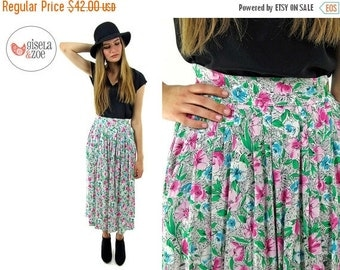 On Sale - Vintage 80s Floral High-Waist Skirt / Pleated Midi Skirt / Floral Abstract Skirt . xs sm md