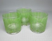set of three GEORGES BRIARD glasses with green stripes