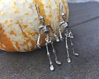 Skeleton Halloween Dangle Earrings / October Spooky Jewelry Skulls Bones