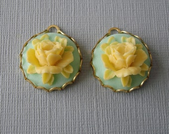 Rose Flower Cyan Yellow Cabochon in  Brass Setting Charm Pendant 18mm.