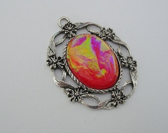 Vintage Style Fire Opal Cabochon in Antiq Silver Filigree Charm Pendant 40x33mm.