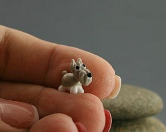 Schnauzer dog miniature sculpture figurine  , puppy , bead / fairy garden supply kit terrarium accessory glass lampwork tiny pet animal