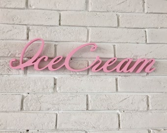 Pink letetrs ice cream party plywood cce cream shop sign wooden letters, ice cream sign, birthday decor sign  party, ice cream party party