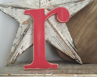 Handpainted Wooden Wall Letter - Distressed - 'r' - New Times Roman - large lowercase