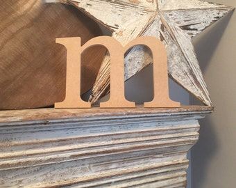 wooden letters, wall letter, not free-standing, unpainted, Roman font, letter m,  12.5cm - READY TO SHIP