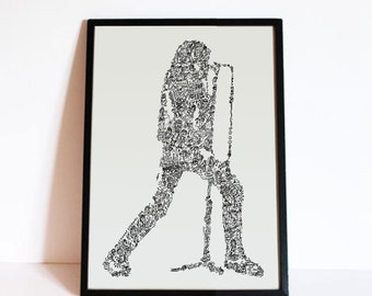 Joey Ramone poster - The ramones - drawing  with Biographical detail in the portrait - Open Edition - A4 - A3 -A2 - A1