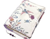 Japanese Kimono Silk Book Cover, Bible Cover, Temple Birds, Handmade by UK Seller, Vintage Kimono Fabric