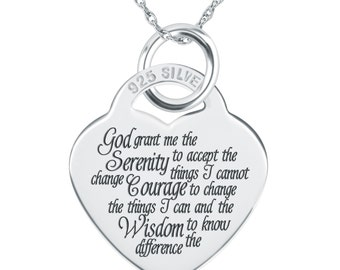 Serenity Prayer Necklace, Personalized, 925 Sterling Silver