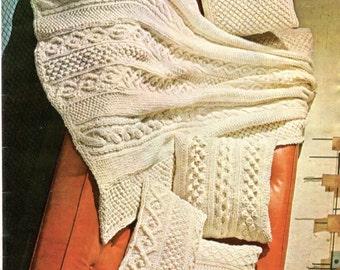 Aran Afghan & Pillows Knitting Pattern Instant Download PDF