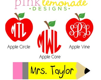 Teacher Monogram Decal, Apple Monogram Vinyl Decal, Pencil Decal