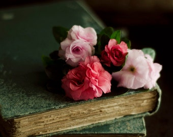 romantic flower art, flower and book art, floral nursery art, rustic floral art, aged book art, teal and pink art, farmhouse decor