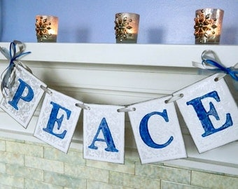 Christmas Decorations - PEACE Sign - Vintage Inspired Holiday Garland- Blue and Silver Christmas Garland - Holiday Photo Prop