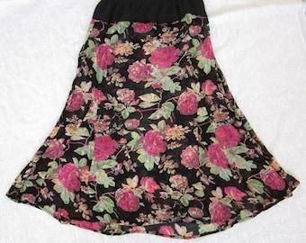 Black skirt, Pink Roses, Sheer Rayon Chiffon, Refashioned Skirt, Bohemian Charm, Pink, Green, Black, Drop Waist, Handmade, Upcycled Skirt