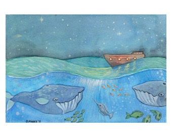 "Nautical Nursery Decor Art Print - Print of Original Ocean Watercolor Painting - Noah's Ark Nusery Art - 8 1/2"" x 11"""