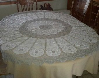 Superior Round Tablecloth Embroidered U0026 Crocheted Linen And Gray Formal Treasure 68  Inch Freshly Washed Textile By