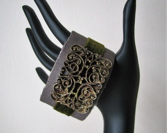 Art Cuff Bracelet Textile Cuff Silk OOAK Wrist Cuff Wearable Art