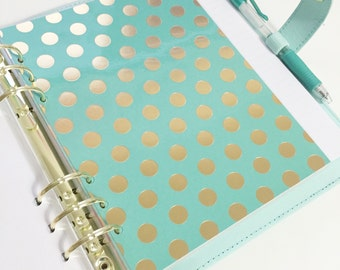 A5 Size Teal with Large Gold Foil Polka Dots Laminated Dashboard Filofax Large Kikki k Planner