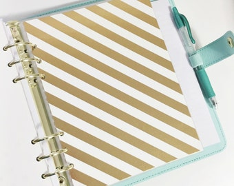 A5 Size Gold Foil Thick Diagonal Striped Laminated Dashboard Filofax Large Kikki k Planner