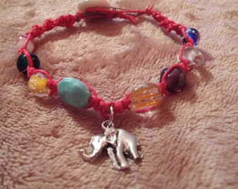 HAppy eleFUNT red hemp & bright beaded bracelet