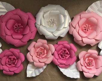3D Wall Flowers -  Large Paper Flower Backdrop  - Set of 9 - Light Pink