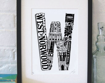Best of West Norwood - London print - London poster - London Art - Typographic Print - London illustration - letter art - South London