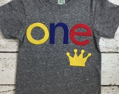 Little prince birthday shirt Fist birthday shirt can be created for any birthday, crown shirt, king of the party baby boy, birthday crown