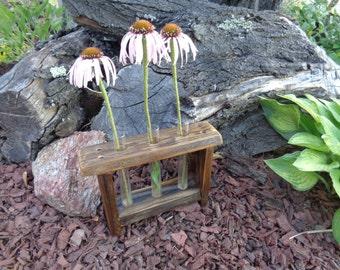 Reclaimed barn wood test tube holder great bud vase or spice rack for three test tubes