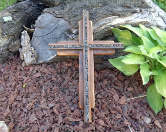 Reclaimed Barn wood layered double Wooden Cross with snowflake obsidian