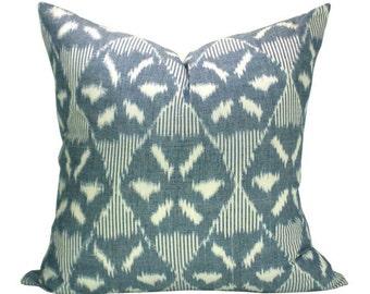 Darjeeling Ikat pillow cover in Denim