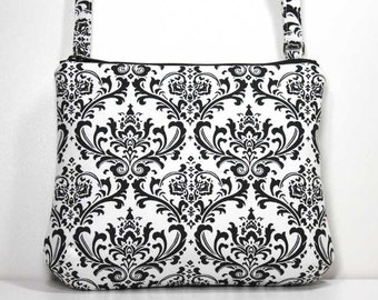 Small Zipper Crossbody Bag Small Shoulder Purse Sling Bag Cross Body Bag - Black Damask on White - Ready to Ship